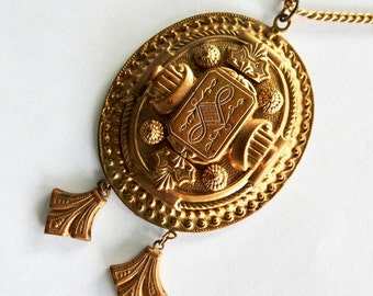 1930s Victorian Revival Large Brass Pendant on Chain