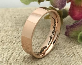 5mm Personalized Rose Gold Plated Stainless Steel Ring, Custom Promise Ring for Her, Custom Date Ring, Purity Ring, Custom Promise Ring