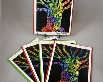 "5 Blank cards 5"" X 7"" with envelopes -  print of original art ""Genesis Tree"" - Christian greeting card"