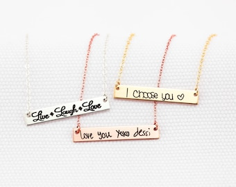 Gold Bar Necklace, Handwritten Horizontal Bar Necklace - YOUR HANDWRITING - or text, Sterling Silver, Gold or Rose Gold, Jewelry For Her