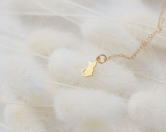 Tiny Cat Necklace, Gold Cat Necklace, Available in Sterling Silver, Gold and Rose Gold