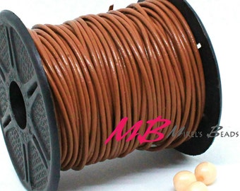 2mm Spool of Henna Indian Leather, 5 Yard Spool of Brown Genuine Leather, 15 feet Round Leather for Jewelry Making
