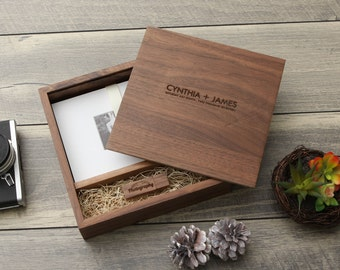 "5x7"" Walnut Wood USB & Photo Box - Print Proof Box - Photography Presentation Box ( Custom Laser Engraving, USB Optional )"