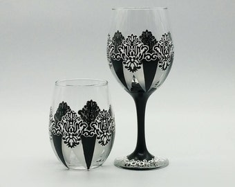 Damask Wine Glass Black White and Frost Hand Painted Stemmed or Stemless Wedding Anniversary