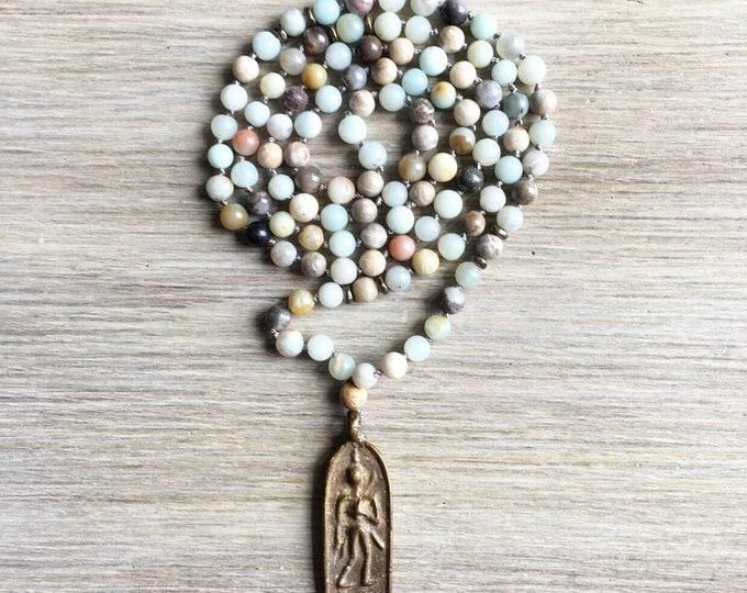 Amazonite Vintage Amulet Mala Beads, 108 Mala, Gemstone, Handmade, Hand-knotted, Meditation, Yoga, Prayer Beads, Chakra