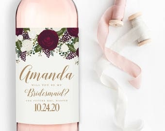 Will You Be My Bridesmaid? Wine Labels, Bridesmaid Wine Bottle Labels, Ask Bridesmaid, Bridesmaid Maid of Honor Gift, Wine Labels #CL158
