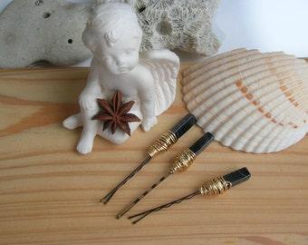 Mermaid Hair Accessory Set of 3 / Banded Black Agate Hair Pins / Boho Gypsy Wedding Hair Pin / Fairy Goddess Hair Pin / Gemstone Hair Pins