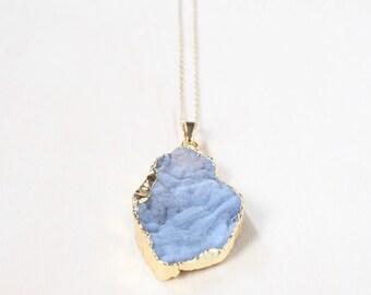 Boho Necklace, Natural Stone Druzy Necklace, Geode Druzy Necklace, Geode Necklace, Agate Necklace, Stone Necklace, Long Necklace, Boho Style