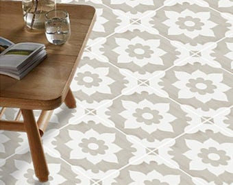 SALE!! Vinyl Floor Tile Sticker - Floor decals - Carreaux Ciment Encaustic Campagne Tile Sticker Pack in Sand