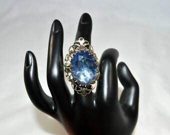 Vintage Ring Large Blue Faceted Rhinestone Silvertone Ornate Filigree Design Vintage Jewelry Vintage Fashion Vintage Ring