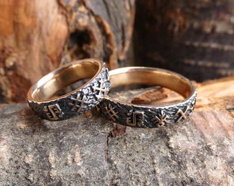 Wedding Band Set Pagan Rings Unique His And Hers