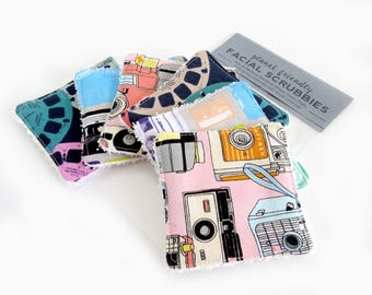 Face Scrubbies - Set of 6 - Retro Days (Viewfinders / Vintage Cameras / Cassette Tapes) - Terry Cloth Facial Cleanser Wipes