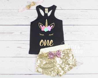 Unicorn First Birthday Outfit, 1st Birthday Tank Top, Unicorn Tank Top, Baby Girl One Birthday, Tank Top Unicorn, Unicorn Sparkle Shorts