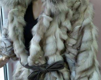 New,Real Natural color Blue  Fox Fur jacket!