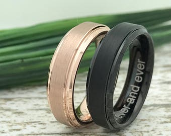 6mm Tungsten Rings,  His And Her Ring Set, Engraved Wedding Date Rings, Couples Names Rings, Matching Couple Ring, King and Queen Rings