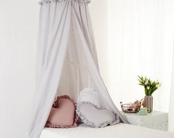 Canopy Grey Frill, Tent canopy, Bed Canopy, Crib Canopy, kids canopy, Play room canopy