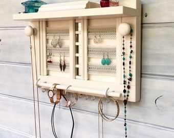 "Jewellery organiser with shelf - 16"" - Antique White - Lace for earrings - Jewelry organizer - Rings studs - Mirrors - Bangle bar - Knobs"
