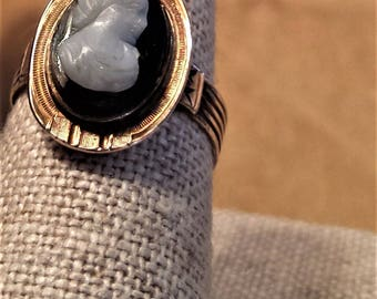 14K Onyx Cameo Ring
