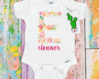 Custom Baby Girl Onesie, Baby Girl Coming Home Outfit, Custom Girl Shirt, Monogram Baby Girl, Newborn Girl Outfit, Personalized Girl Onesie