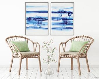 Far Away,  set of 2 prints, blue watercolor painting,  abstract blue art, modern painting, watercolor indigo artwork