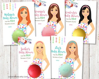 Baby Shower Favors Girl Boy EOS Lip Balm Multi Colored Polka Dots Baby Shower Favor Baby Shower Fabor Card Holder Gift Tags PRINTABLE