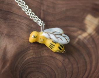 ceramic bee pendant, bee jewelry, miniature animals, bee totem, porcelain bee, honey bee necklace