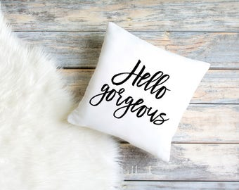 Hello Gorgeous Pillow Gold Quote Pillow Black And Gold Pillow