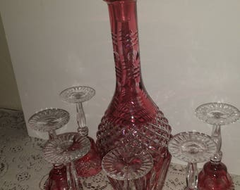 Cut crystal Decanter with six glasses