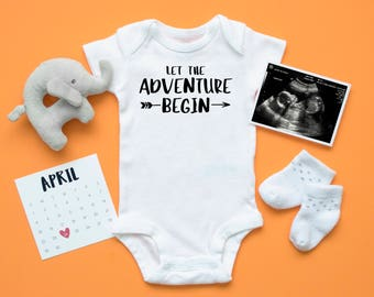 Let the Adventure Begin Custom Baby Bodysuit, Pregnancy Announcement, Newborn Outfit, Baby Shower Gift, Toddler T-shirt, New Mom, Arrow