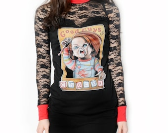 Chucky Child's Play Altered Tee Lace Dress