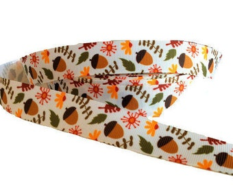 "7/8"" Acorn ~ Fall ~ Thanksgiving ~ Leaves ~  Grosgrain Ribbon"