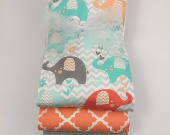 Cotton Coral Elephant Burp Cloth Trio