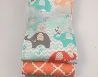 Cotton Coral Elephant Burp Cloth Trio