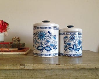 Set of Blue White Tin Canisters Floral Lids Hand Painted Knobs Ransburg