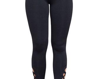 Black Lace Up Detail Stretch Work Out Leggings