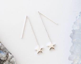 Silver Pull-through earring • Ear thread dangles • Metallic Star Dangles • Chain thread earring