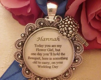 Custom made Bridal Bouquet Bride Wedding Flower Girl Charm personalised 'something old'vintage look