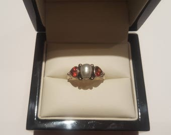 garnet hearts and freshwater pearl ring