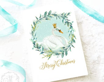 Christmas card, white swan in a mistletoe wreath, watercolor illustration, Merry Christmas holiday card, blank inside