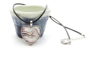 Heart Made with Paint Pendant in Red Stripes
