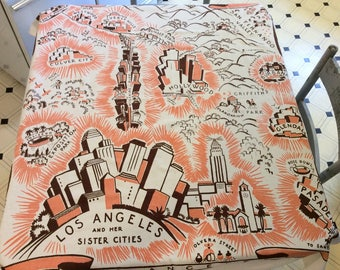 Vintage 1930s Souvenir Tablecloth Los Angeles & Her Sister Cities Rare