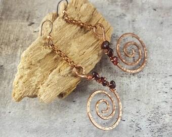 Copper Dangle Earrings. Red Garnet Crystal Earrings, Hammered Copper Earrings, January Birthstone Gift for Her, Mom Gift, Spiral Symbol.