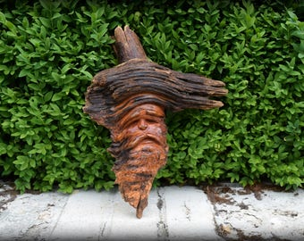 Vintage Hand Carved Wood Tree Spirit - Woodland, Green Man, Folk Art, Rustic, Forest, Fae, Nature