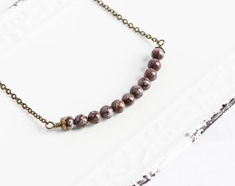 Small Brown Snowflake Jasper Gemstone Bead Bar Necklace on Antiqued Brass Chain