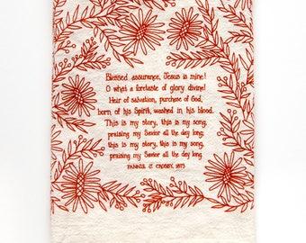 PREORDER Hymn Tea Towel Blessed Assurance housewarming gift teacher gift ideas mothers day gift botanical print art print gift for her