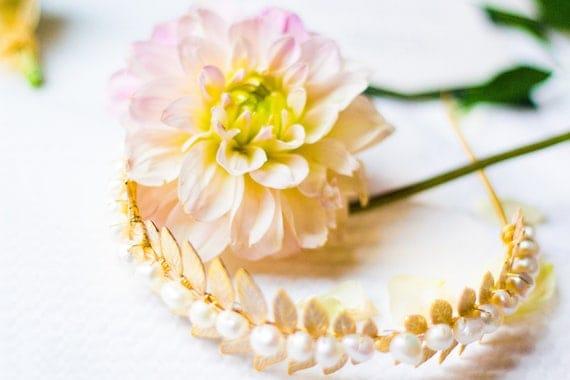 SAMPLE SALE - Bridal Headband, Wedding Accessory, Laurel Leaf Headband, Pearl Headband, Wedding Headband, Leaf Headband, Freshwater Pearl