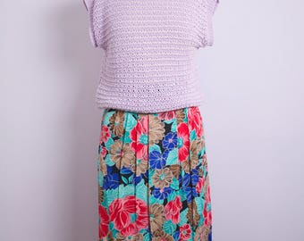Vintage 1980's Cap Sleeve Lavender Open Knit Boatneck Sweater Top M/L