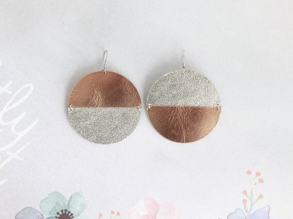 Large mismatched disc earrings- silver and rose gold leather circle earrings- contemporary statement earrings- minimalist geometric earrings