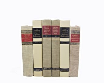 Antique Beige Books, Tan Book Set, Brown BOok Decor, Decorative Books, COuntry chic,  Book collection, Rustic Old book stack, Farmhouse chic