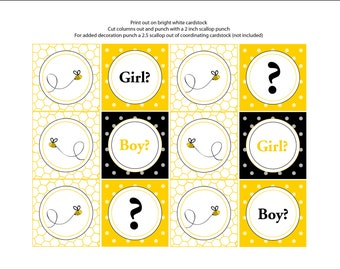 Bumble Bee Theme Gender Reveal Cupcake Toppers/Tags